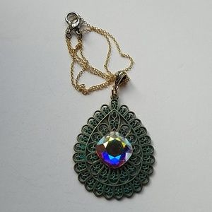 GYPSY MEDALLION patina drop OPAL XL stone necklace
